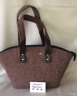 Tweed paris brown handbag