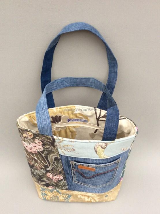 Blue Patchwork Handmade Tote Bag_Back