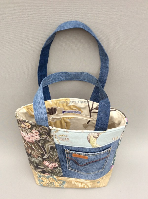 Blue Patchwork Handmade Tote Bag_Back