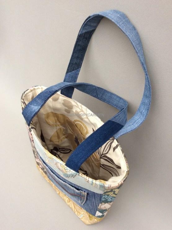 Blue Patchwork Handmade Tote Bag_Side