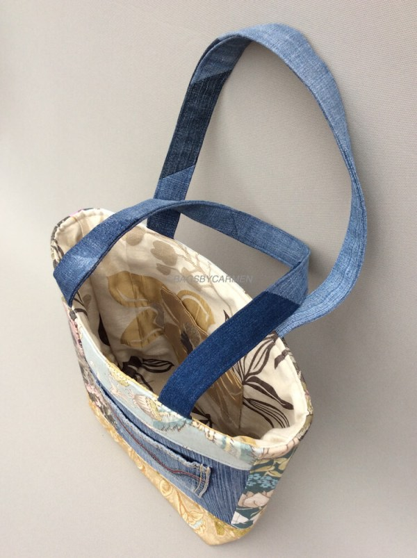 Blue Patchwork Handmade Tote Bag_Side