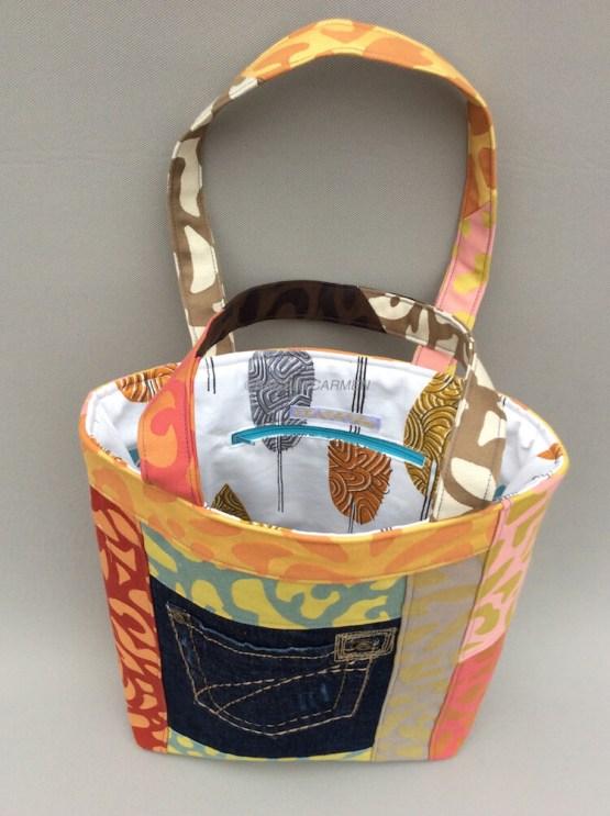 Orange Patchwork Handmade Tote Bag_Back