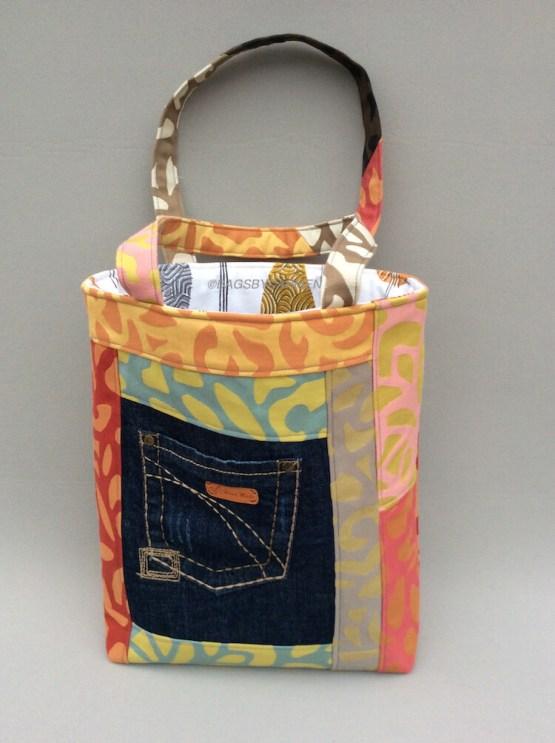 Orange Patchwork Handmade Tote Bag_Front