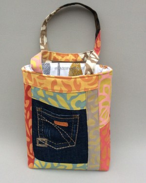 Orange Patchwork Handmade Tote Bag_Front