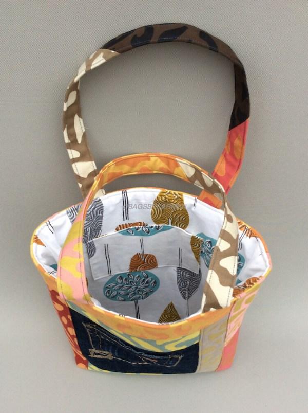 Orange Patchwork Handmade Tote Bag_Top