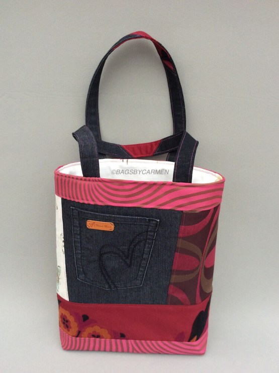 Pink Patchwork Handmade Tote Bag_Front