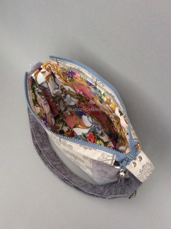 Silver Grey Tree Handmade Shoulder Bag_Side