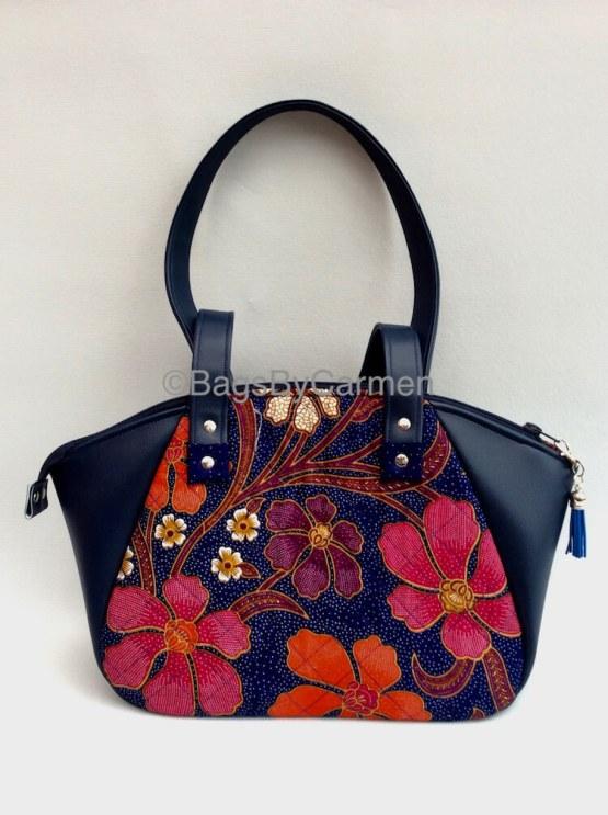 Blue Floral Handmade Handbag_Front