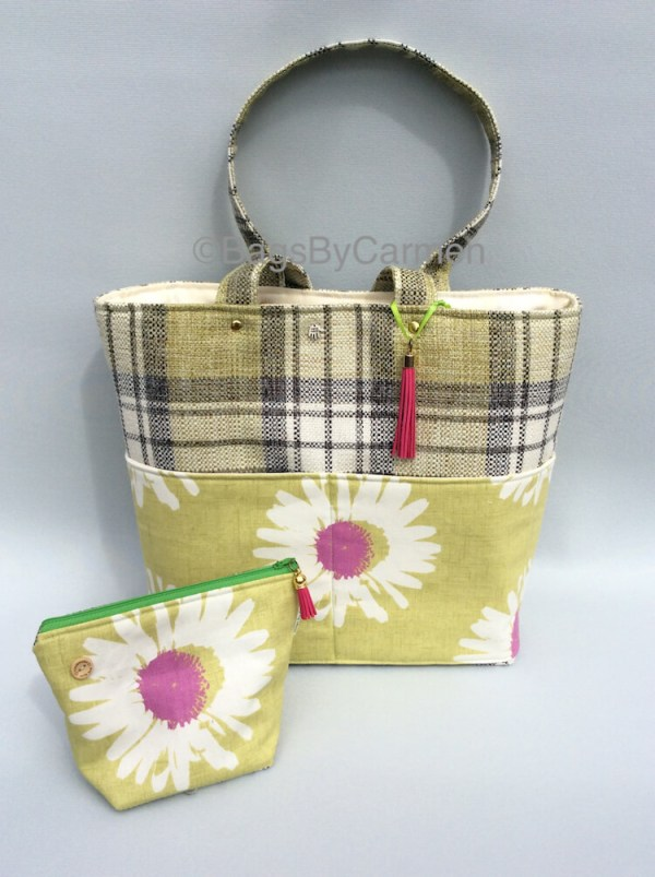 Tote Bag - Green Check & Daisy Print_Bundle