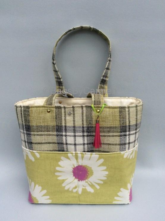 Tote Bag - Green Check & Daisy Print_Front