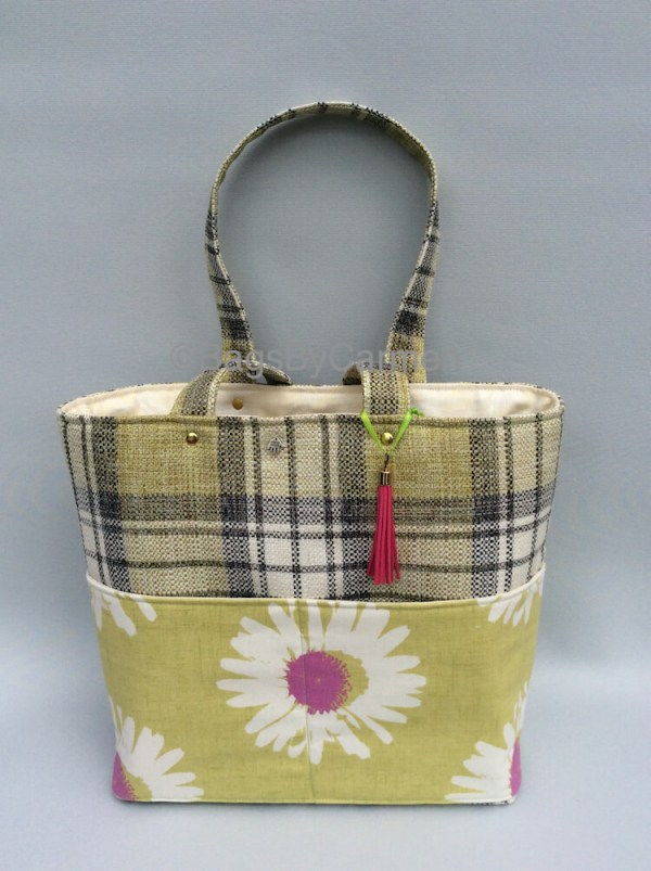 Tote Bag - Green Check & Daisy Print_Front