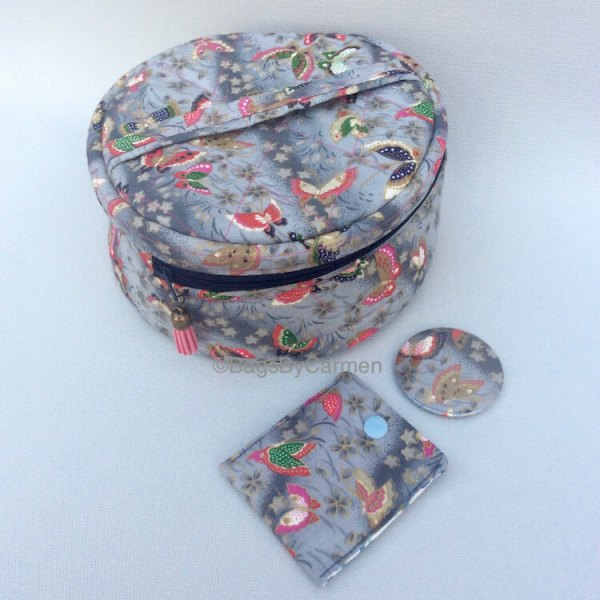 Grey Butterfly Make Up Bag