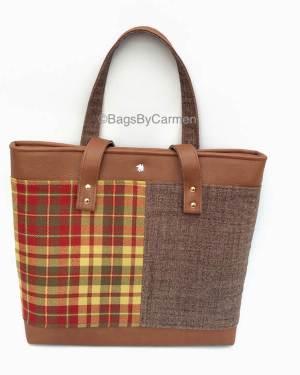 brown tartan tote bag
