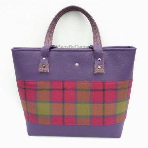 purple tartan tote bag
