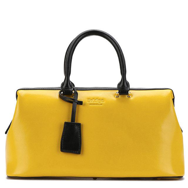 e90f9e660c36 Купить Сумка-чемодан женская желтого цвета кожаная Bvlriga England style  цена фото