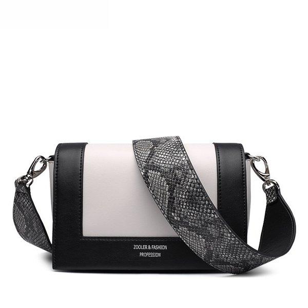 Купить Сумка клатч женская кожаная белая / черная змеиная кожа Zooler, Mini Flap fashion цена фото