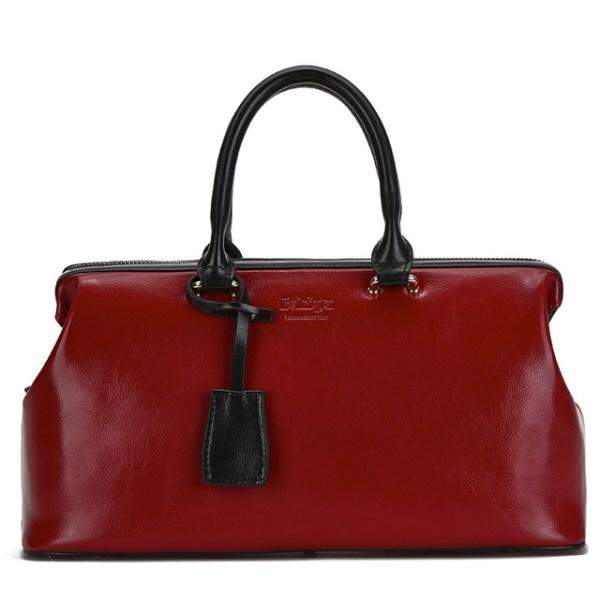 Купить Сумка-саквояж женская бордовая/красная кожаная Bvlriga, England style цена фото