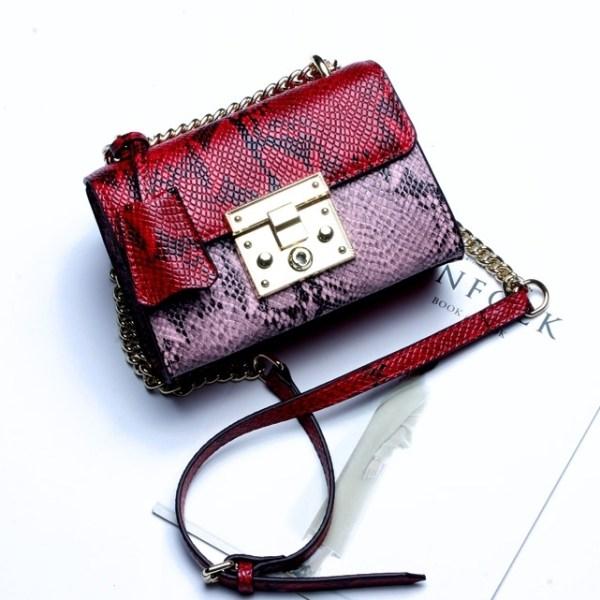 Купить Сумка женская змеиная кожа розовая красная кожаная Esufeir, Mini Flap цена фото