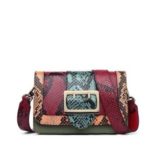 Купить Сумка | клатч женская красная / бордовая кожаная змеиная кожа Zooler, Mini Flap цена фото