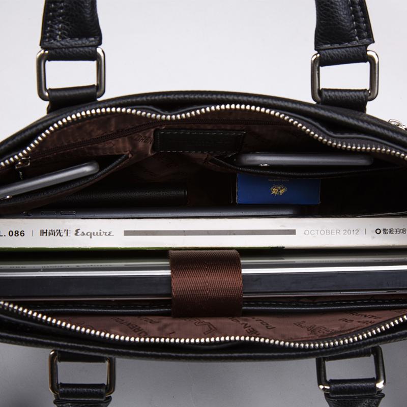 6168b653d890 Купить Портфель мужской кожаный коричневый для документов макбука ноутбука  Laorentou, Elegant Business фото цена Киев ...