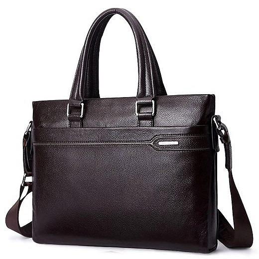 Купить Портфель мужской кожаный коричневый для документов макбука ноутбука Laorentou, Elegant Business фото цена
