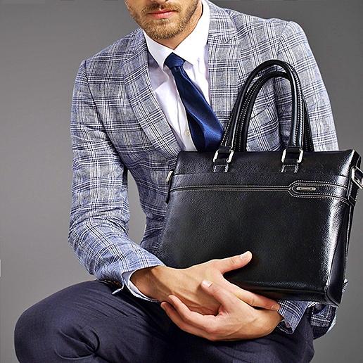 Купить Портфель мужской кожаный черный черного цвета для документов Laorentou, Elegant Business цена фото