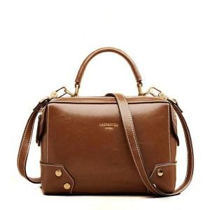 Купить Сумка женская кожаная коричневая рыжая коричневого цвета Laorentou, Fashion Classic фото цена через плечо