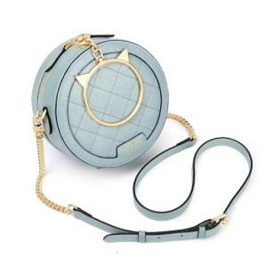 Купить Круглая сумка через плечо с ручкой-кольцом морская волна кожаная Foxer, Fashion round Киев Харьков Одесса Украина