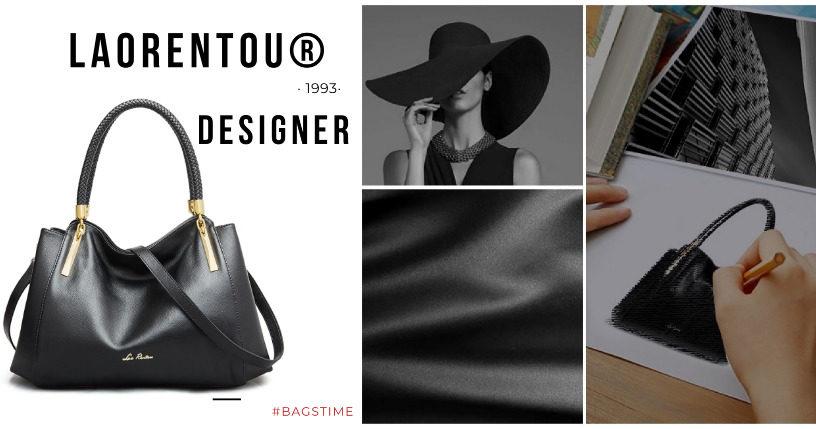 Дизайнерська, елегантна, містка жіноча шкіряна сумка чорного кольору через плече від бренду LAORENTOU®
