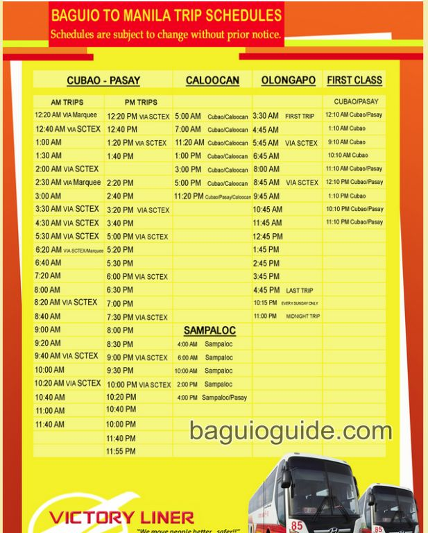 baguio to manila trip schedules