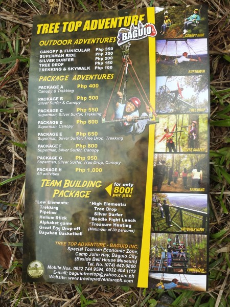 tree top adventure baguio tour package