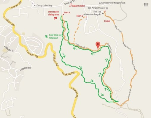 yellow trail baguio map