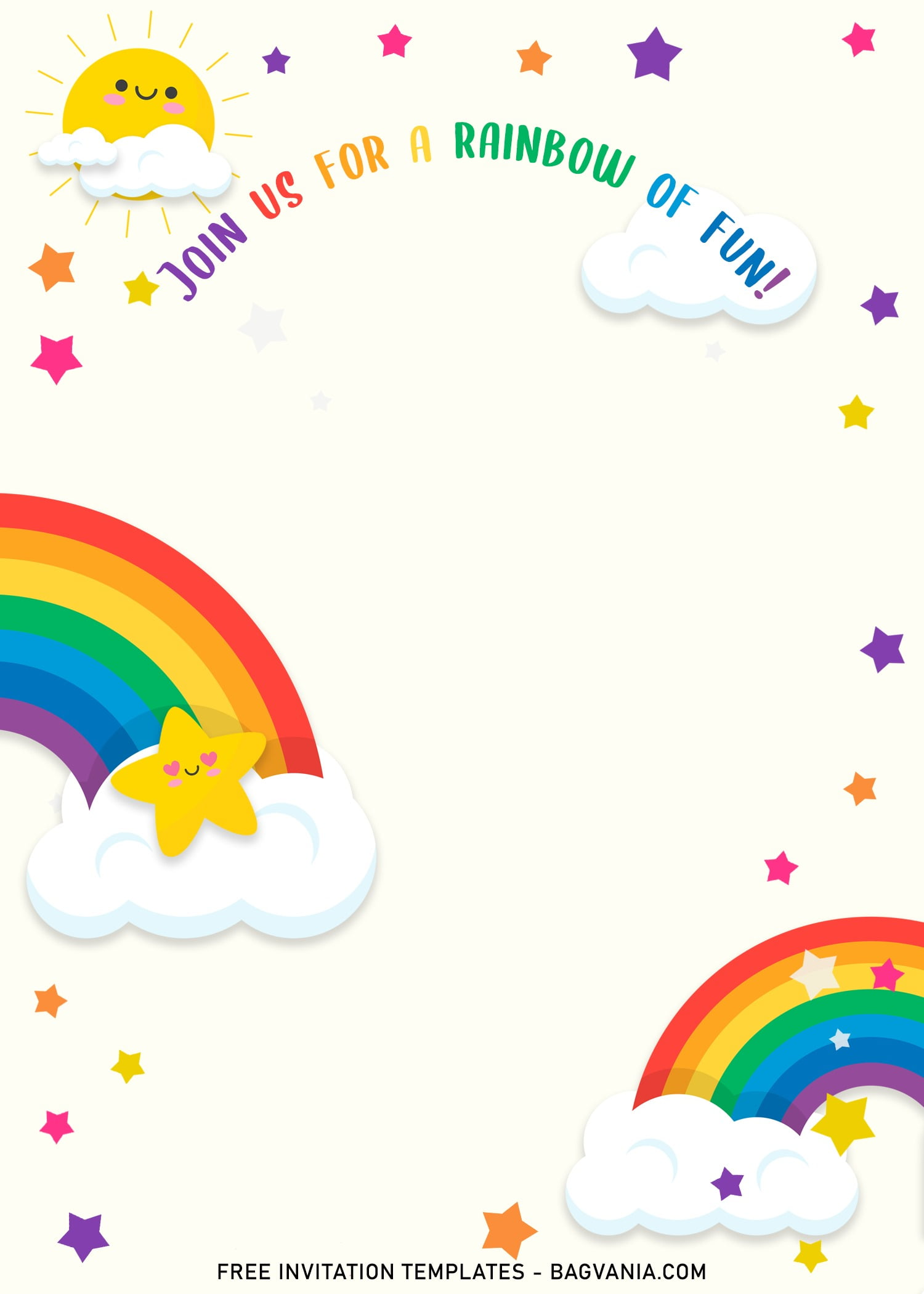 You can purchase party invitations individually or buy in bulk to take advantage of our multibuy deal. 11 Colorful Rainbow Invitation Card Templates For A Whimsical Birthday Party Free Printable Birthday Invitation Templates Bagvania