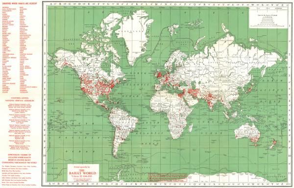 Localities where Bahá39ís live world 1946