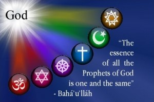 Image of the Baha'i belief in the universality of all religion's god-ideas.