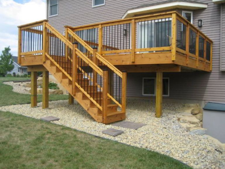 Deck with High Stair Ideas
