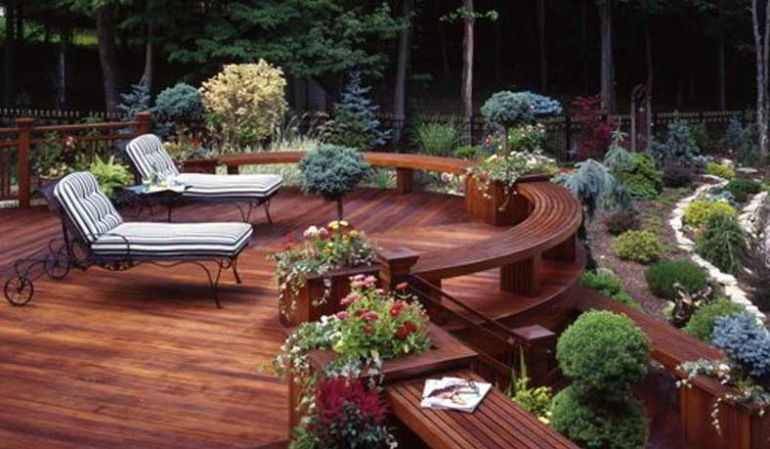 Semi garden wood deck ideas