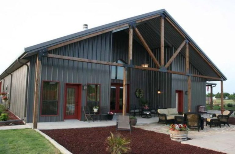 Metal Building with Outdoor Living Room