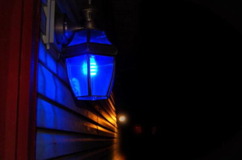 blue porch light mean