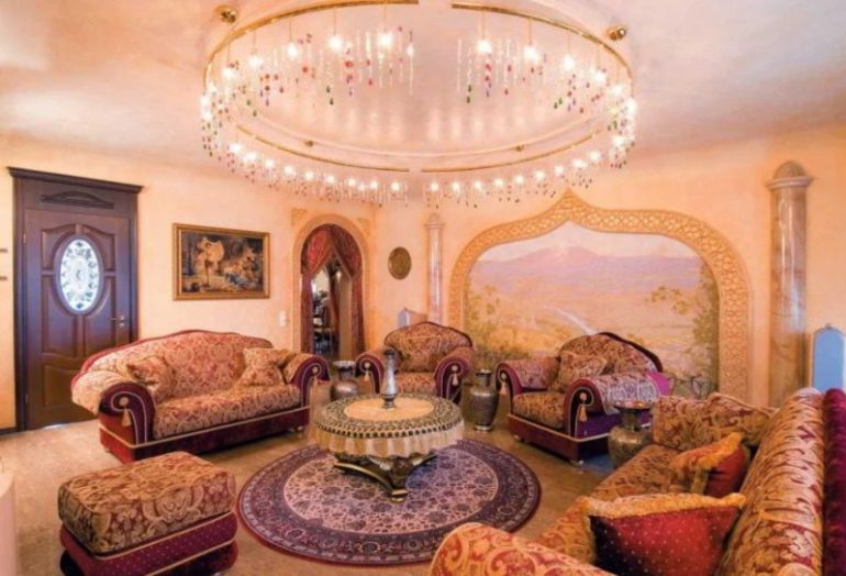 Ethnic Decoration in Luxurious Indian Living Room