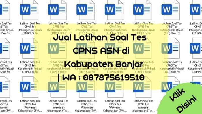 Soal Tes CPNS ASN di Kabupaten Banjar