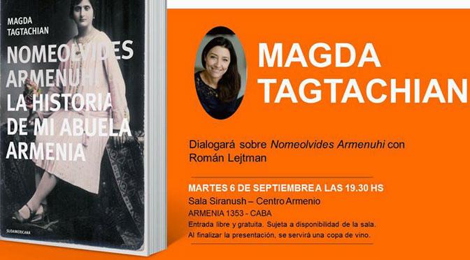 Magda Tagtachian presenta el libro sobre su abuela armenia Armenuhi