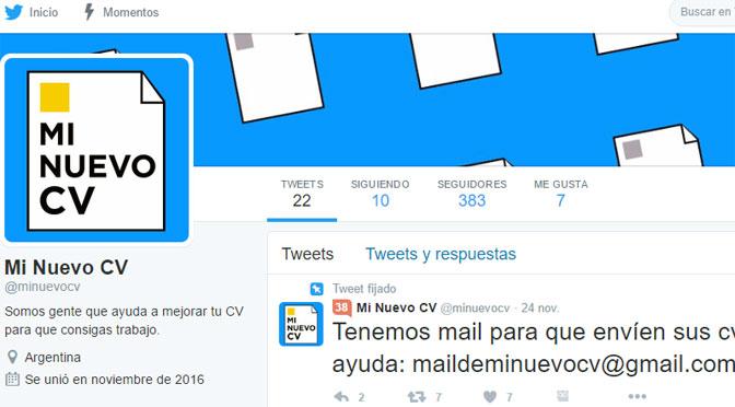 «Mi nuevo CV», ayuda de chapa y pintura laboral en Twitter