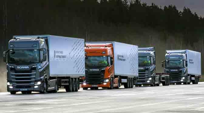 Scania quiere cambiar el transporte de cargas con el «platooning»