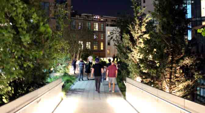 Un paseo nocturno por el parque High Lane de New York