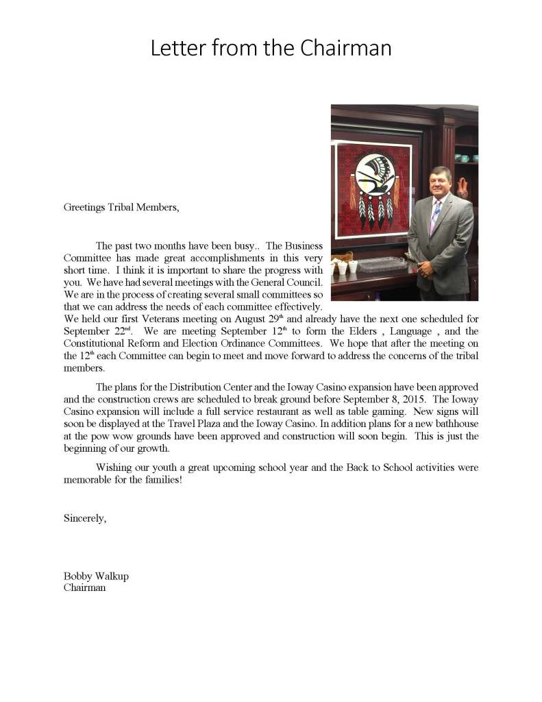 Letter from Chairman August 2015