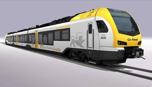 Triebzug vom Typ Flirt3 des Herstellers Stadler im einheitlichen Landesdesign. (Fotografik: © Stadler Rail)