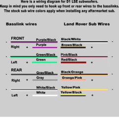 Land Rover Discovery 4 Trailer Plug Wiring Diagram Car Alarm Installation Stereo Subwoofer Only The Rear Connection Was Used In My Application But All Colors Are Here For You