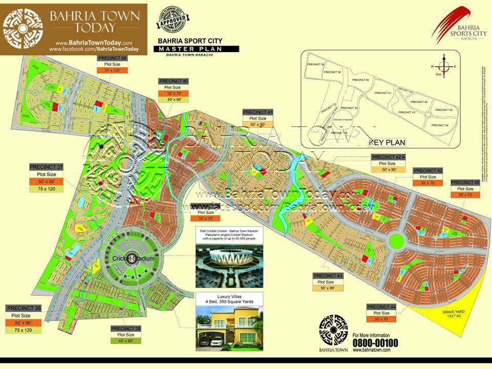 Bahria Sports City Karachi - High Resolution Master Plan with Plot Numbers