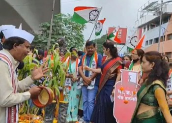 Pune News ncps agitation against inflation confusion muralis dance came fore pune